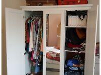 Ikea Hemnes White Free Standing Wardrobe 3 Doors Triple Cupboard