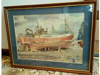 Watercolour painting of fishing boat