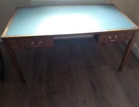 Retro wooden desk with grey leatherette top