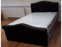 NEW/UNUSED 4ft6 double brown leather finish ottoman gas side lift up bed frame bedstead