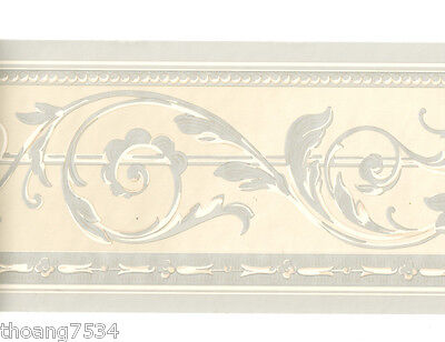 Metallic Scroll Wallpaper (Traditional Metallic SILVER Grey Taupe Acanthus Leaf Scroll Wall paper Border)