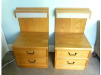 Retro / Vintage 70s G Plan Pair matching Bedside Cabinet / Chest of Drawers Light & 2 Drawers