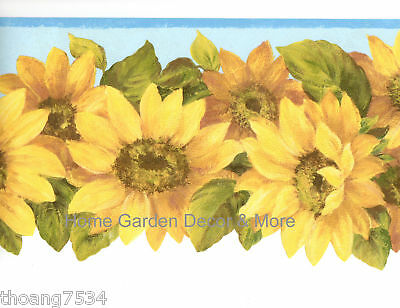 Yellow SUNFLOWERS Sculptured Die Cut Blue Edge Wall paper (Die Cut Wall Border)