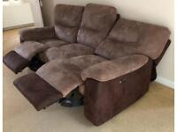 DFS ELECTRIC RECLINING SOFA SET WITH BUILT IN USB CHARGERS