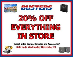 Busters Buy And Sell - 20% Off Everything in Store except Video Games! Sale ends Wednesday November 21