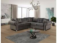 FREE DELIVERY - Beautiful LARGE Corner sofa -LARGE FULL FOAM Sitting CUSHIOONS , Designer size arms