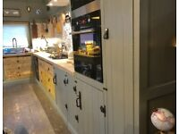 Freestanding solid timber kitchen run reclaimed timber tops