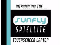 Hire the official Sunfly karaoke touchscreen laptop with compact PA and two wireless microphones.
