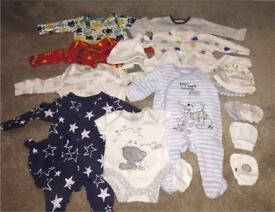 Newborn/ first size baby grows, hats and mittens