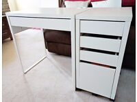 Ikea white Micke desk and Drawer unit with drop-file storage