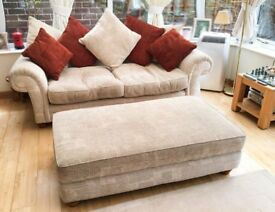 Comfortable Three Seater Sofa, Scatter Cushions & Extra Large Matching Footstool.