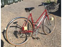 "Vintage Falcon lady's town bike with basket, 20.5"" Reynolds 531 frame, 5 gears, 27"" wheels"