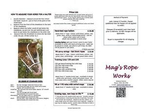 hand tied rope halters, rope reins and leads Mag's Rope Works