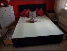 Black suede double divan bed