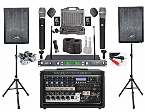 Home karaoke system Peavey PV6500 Mixing Amplfiier, Dual RECHARGEABLE wireless