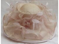 Pale pink special occasion hat from Victoria Ann, sinamay and feathers. Splendid!
