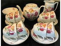 VINTAGE PINK ROSE SHABBY CHIC BONE CHINA TEA SET