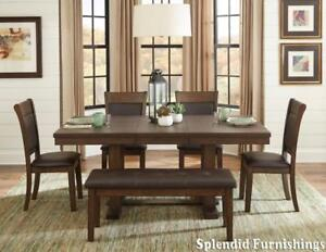 Contemporary Style, Light Rustic Ash Finish 6 Pc dining Set on Ptomotion