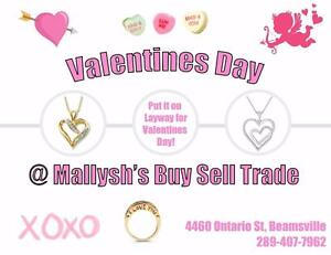 Valentines Day is coming!! Shop now and put it on FREE layaway @ Mallysh's!