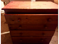 SOLID PINE BEDROOM DRAWERS 30 INCHES WIDE X 30 HIGH X 17 DEPTH DOVE TAIL JOINTS STRONG DRAWERS