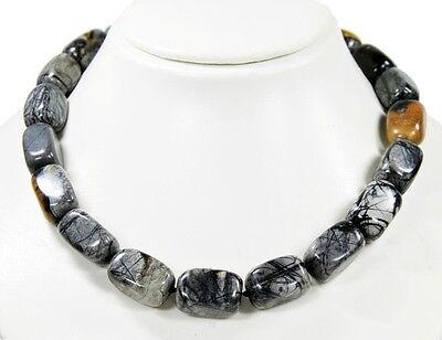 Schöne Edelsteinkette aus Picaso-Jaspis in abgerundeter Prismen-Form