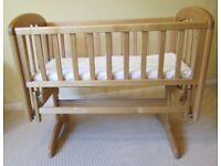 John Lewis Anna Glider Crib/Cot, Natural (Birch), with mattress
