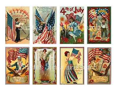 Vintage Postcard 4th of July Stickers Scrapbooking Americana Patriotic -