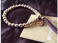 Michael kors beads and leather bracelet