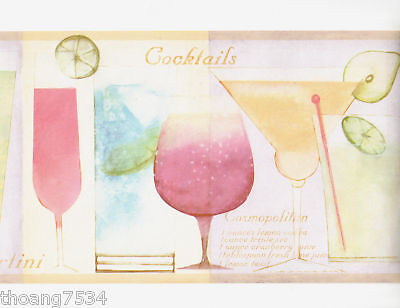 Martini Glass Wallpaper Border (Pastel Color Cocktails Martini Glass Bar Wine Mixed Drink Wall paper Border )