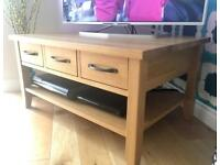 Anderson's Solid Oak table/tv stand with drawers