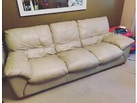 2 cheap real cream leather sofas 2 seater and 3 seater