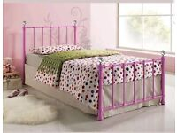Girls single hot pink with diamonds metal bed & next white bed curtain canopy drape