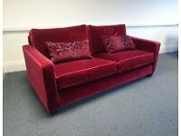 3 seater velvet sofa in red