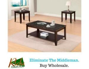 BRAND NEW Coffee Table + 2 End Tables = $199 Only !!! (Available in Brown and Black)