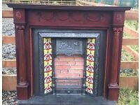 105 - Cast Iron Fireplace Surround Fire Wood Old Tiled Insert Antique Victorian Style