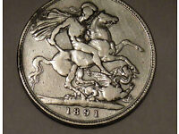 Coin: '1891' British Queen Victoria Jubilee Head Silver Crown Coin, great condition