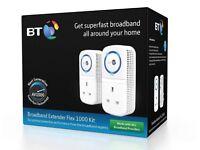 BT Home Network Broadband Extender Flex 1000 Kit Powerline Adapter Twin Pack