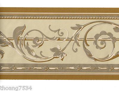 Metallic Scroll Wallpaper (Traditional Metallic GOLD Tan Cream Acanthus Leaf Scroll Wall paper Border)