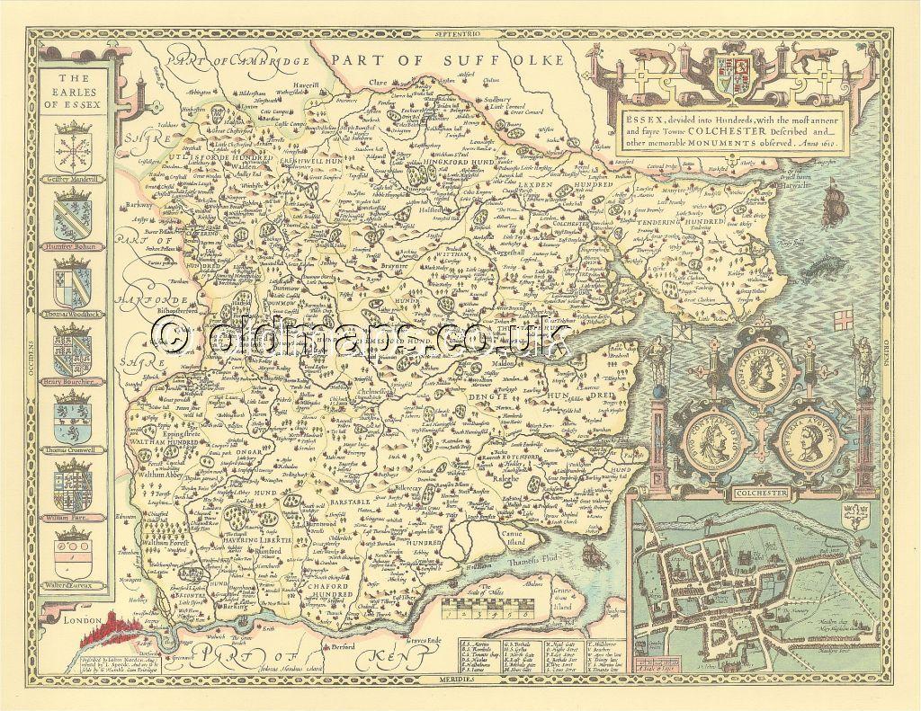 Rutland OAKHAM Replica Old  John Speed map FULL SIZE PRINT  c1610  UNIQUE GIFT