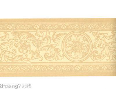 Leaf Scroll Wall Border (French Damask Cream Beige Scroll Acanthus Leaf Medallion Wall paper Border )