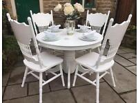 Shabby Chic White Round Dining Table & 4 Chairs
