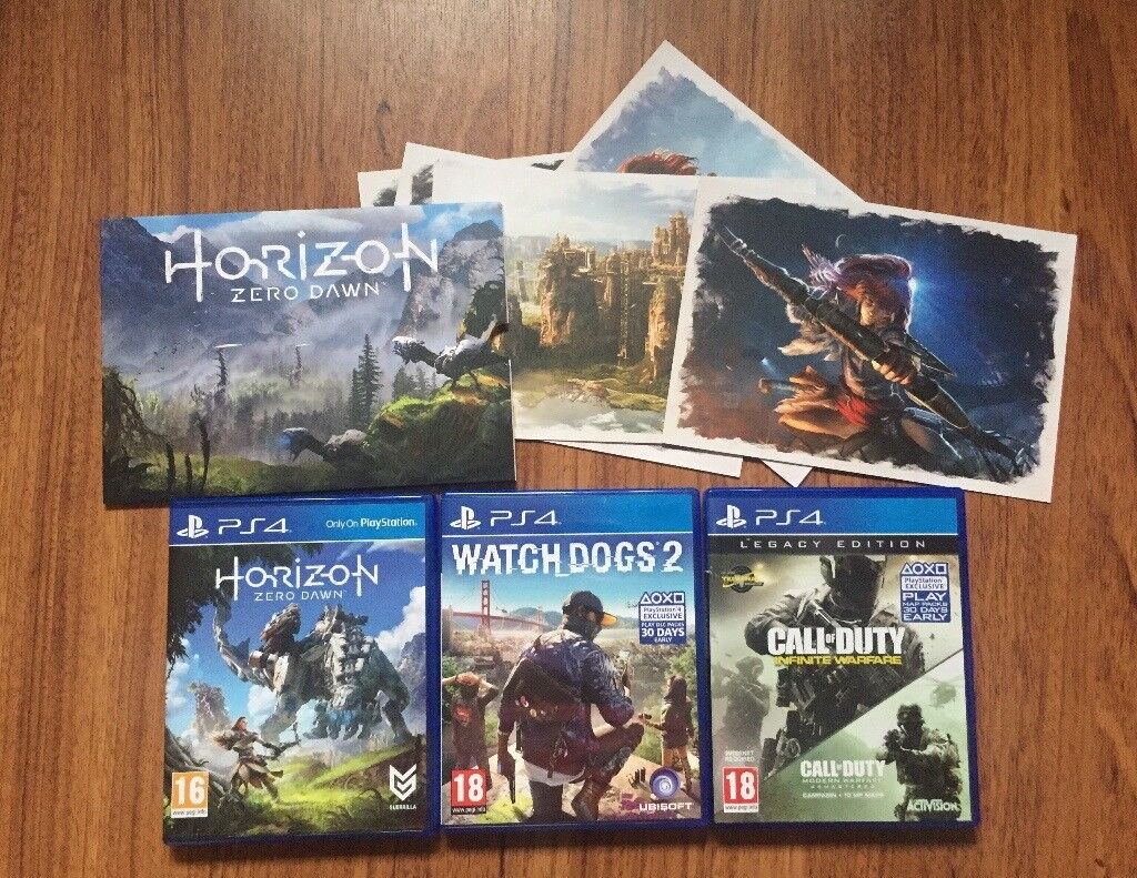 PS4 Games Horizon Zero Dawn, COD Infinite Warfare & Watch Dogs 2