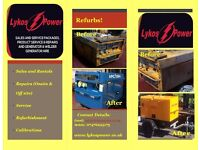 Sales of refurbished generators & welder-generators, service and repairs onsite & off-site