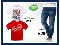 Mens Crosshatch Collection T-shirt Jeans