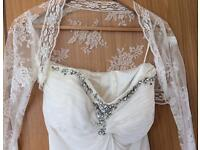 Beautiful Grecian style wedding dress hand made with lace bodice. Size 8/10