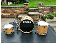 Yamaha stage custom birch. Drum kit, cymbal stands, mapex bass kick pedal. Remo, premier