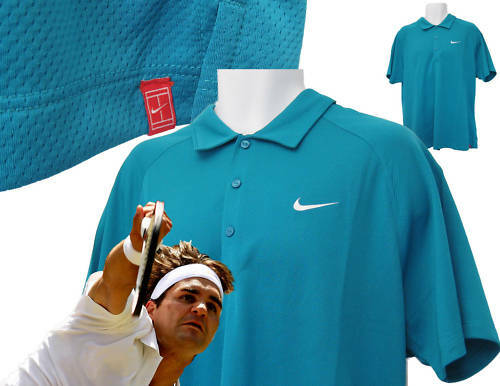 NIKE TENNIS DriFit Polo Shirt Turquoise L