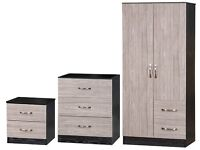*30-DAY MONEY BACK GUARANTEE* High Gloss Bedroom Wardrobe Set With Chest and Side Table - Grey/Black