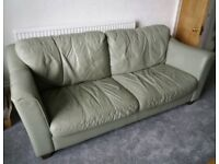 Leather sofa and 2 chairs