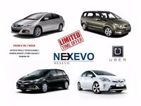 FROM £99/WEEK UBER/MINICAB READY PCO HYBRID, 5 OR 7 SEATER CARS FOR RENT. TOYOTA PRIUS, AURIS, ETC.